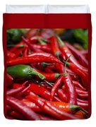 Chili Peppers At The Market Duvet Cover by Heather Applegate