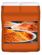 Chili Powder At Local Street Market In Dunhuang China Duvet Cover