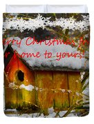 Chilly Birdhouse Holiday Card Duvet Cover