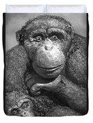 Chimpanzee Carving Duvet Cover