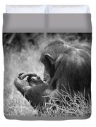 Chimpanzee In Thought Duvet Cover