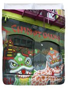 Chinatown Foo Dog Mural Duvet Cover