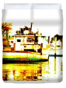 Chincoteague Boat Reflections Duvet Cover