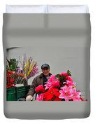Chinese Bicycle Flower Vendor On Street Shanghai China Duvet Cover