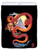 Chinese Dragon On Black Duvet Cover