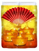 Chinese Gold Bars And Fan With Text Happy New Year Duvet Cover