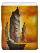 Chinese Junk In Ochre Duvet Cover by Tracey Harrington-Simpson