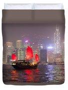 Chinese Junk Sail In Hong Kong Harbor At Night Duvet Cover