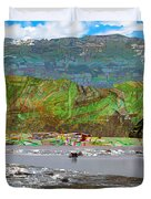 Chinese Landscape Abstract Graphic River Snow Peak Mountain Picnic Spot Skiing Raft Boat Duvet Cover