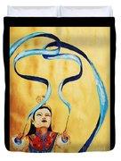 Chinese Ribbon Dancer  Blue Ribbon Duvet Cover