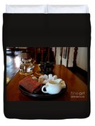 Chinese Tea Pot Cups Towel Tray And Plates Duvet Cover