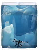 Chinstrap Penguins On Blue Iceberg Duvet Cover