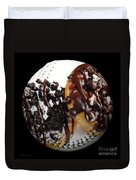 Chocolate Donuts Baseball Square Duvet Cover by Andee Design