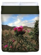 Cholla Cactus Blooming In The Sandia Foothills Duvet Cover