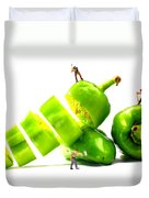 Chopping Green Peppers Little People Big Worlds Duvet Cover