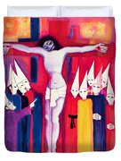 Christ And The Politicians Duvet Cover by Laila Shawa