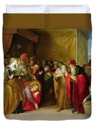 Christ And The Woman Taken In Adultery Duvet Cover