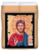 Christ Icon Fresco Duvet Cover