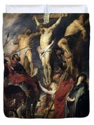 Christ On The Cross Between The Two Thieves Duvet Cover