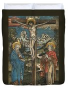 Christ On The Cross With Mary And Saint John Duvet Cover by German School
