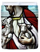 Christ The Good Shepherd With His Flock Duvet Cover