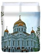 Christ The Savior Cathedral In Moscow-russia Duvet Cover