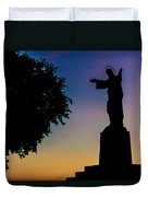 Christ Welcomes Darkness At Sunset Duvet Cover