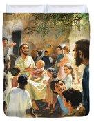 Christ With Children Duvet Cover