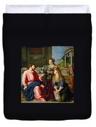 Christ With Mary And Martha Duvet Cover