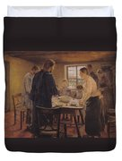 Christ With The Peasants Duvet Cover by Fritz von Uhde