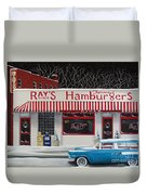 Christmas At Ray's Diner Duvet Cover by Catherine Holman