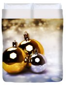 Christmas Balls Gold Silver Duvet Cover