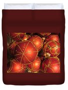 Christmas Balls In Red And Gold Duvet Cover