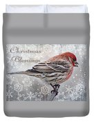 Christmas Blessings Finch Greeting Card Duvet Cover