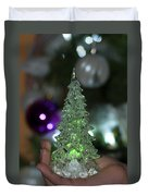 A Christmas Crystal Tree In Green  Duvet Cover