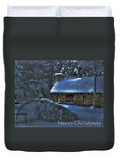Christmas Card Moonlight On Stone House Duvet Cover