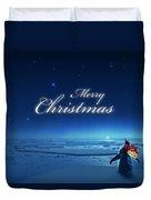 Christmas Card - Penguin Blue Duvet Cover