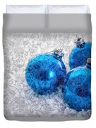 Christmas Card With Vintage Blue Ornaments Duvet Cover