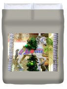 Christmas Carousel Horse With Pine Branch Duvet Cover