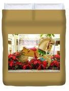 Christmas Carousel Horse With Poinsettias Duvet Cover