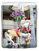 Christmas Carousel White Horse Duvet Cover