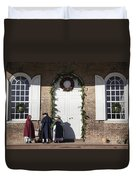 Christmas Conversation At The Courthouse Duvet Cover