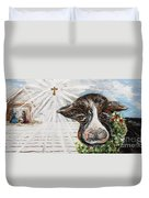 Christmas Cow - Oh To Have Been There... Duvet Cover