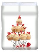 Christmas Cupcakes On Stand Duvet Cover
