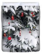 Christmas Decorations On Snowy Tree Duvet Cover