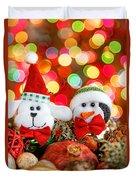 Christmas Dog And Penguin Duvet Cover