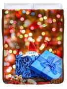 Christmas Dog In Box Duvet Cover