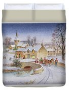 Christmas Eve In The Village  Duvet Cover