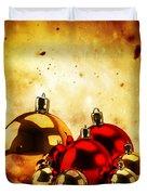 Christmas Glass Balls On Winter Gold Background Duvet Cover