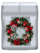 Christmas Greetings Door Wreath Duvet Cover